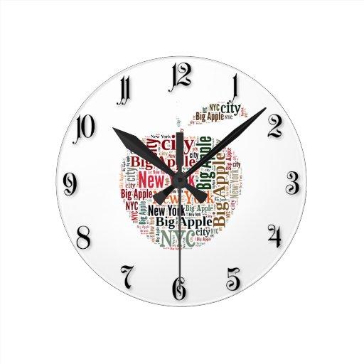 New York words cloud Round Clocks