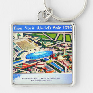 New York World's Fair 1939 Silver-Colored Square Keychain