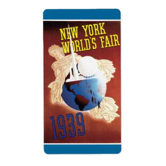 New York World's Fair, 1939 Label