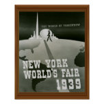 New York World's Fair 1939 Vintage Black White Poster