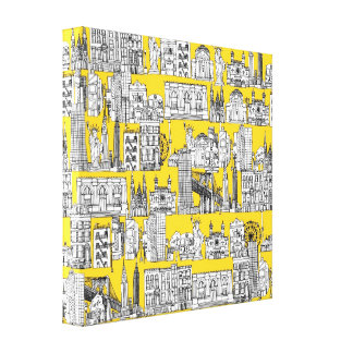 New York / yellow Gallery Wrapped Canvas