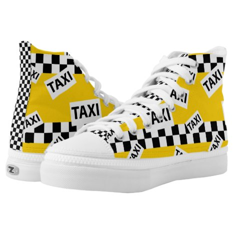 New York Yellow Taxi Cab Checkerboard High-Top Sneakers