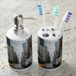 New York Yellow Taxi Cabs Soap Dispenser And Toothbrush Holder
