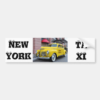 New York Yellow Vintage Cab Car Bumper Sticker