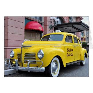 New York Yellow Vintage Cab Greeting Card