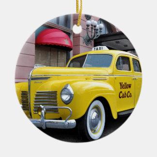 New York Yellow Vintage Cab Ceramic Ornament