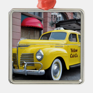 New York Yellow Vintage Cab Metal Ornament