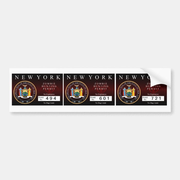 New York Zombie Hunting Permit Bumper Sticker