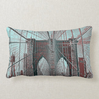 New York's Brooklyn Bridge and Freedom Tower Throw Pillow