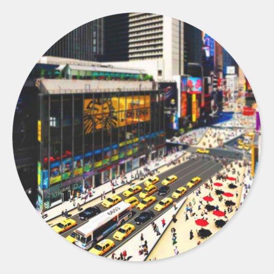 New York's Times Square in miniature Classic Round Sticker