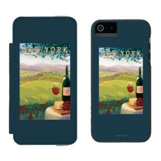New YorkWine Country Scene Wallet Case For iPhone SE/5/5s