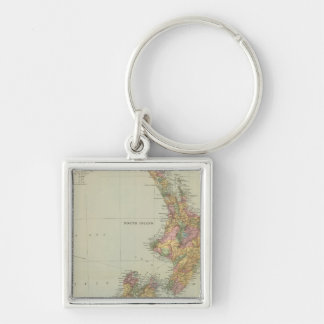 New Zealand 3 Silver-Colored Square Keychain