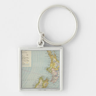 New Zealand 4 Silver-Colored Square Keychain