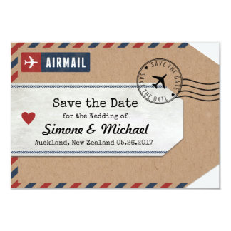 New Zealand Airmail Luggage Tag Save Date Card
