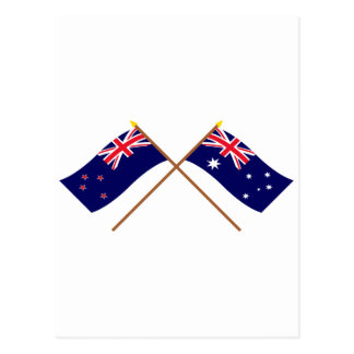 New Zealand and Australia Crossed Flags Postcard