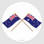 New Zealand and Australia Crossed Flags Classic Round Sticker