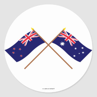 New Zealand and Australia Crossed Flags Stickers