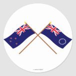 New Zealand and Cook Islands Crossed Flags Classic Round Sticker