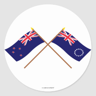 New Zealand and Cook Islands Crossed Flags Stickers