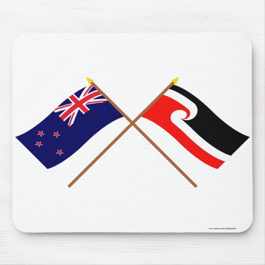 New Zealand and Maori People Crossed Flags Mouse Pad