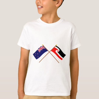 New Zealand and Maori People Crossed Flags T-Shirt