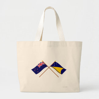 New Zealand and Tokelau Crossed Flags Tote Bag