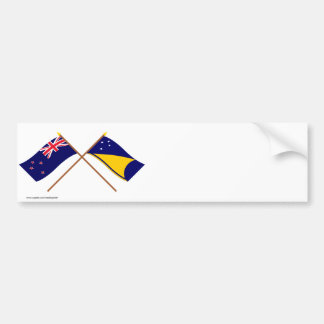 New Zealand and Tokelau Crossed Flags Bumper Sticker