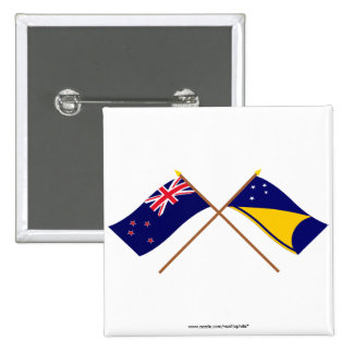 New Zealand and Tokelau Crossed Flags Pin