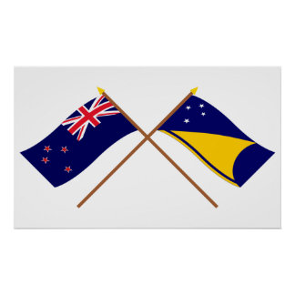 New Zealand and Tokelau Crossed Flags Poster