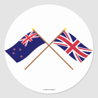 New Zealand and United Kingdom Crossed Flags Round Stickers