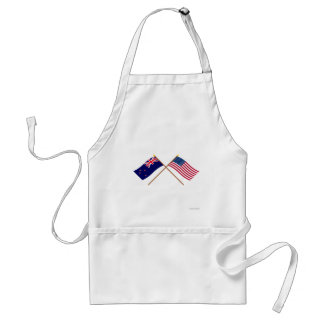New Zealand and United States Crossed Flags Adult Apron