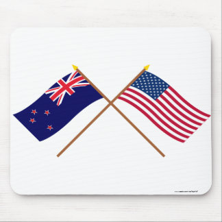 New Zealand and United States Crossed Flags Mouse Pad
