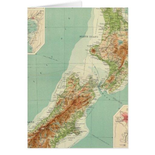New Zealand Atlas Map Greeting Card