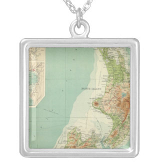 New Zealand Atlas Map Square Pendant Necklace