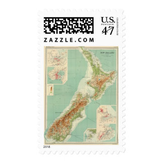 New Zealand Atlas Map Postage Stamp