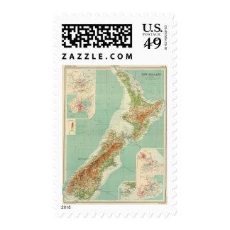 New Zealand Atlas Map Postage Stamp