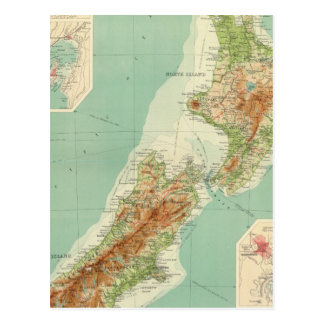 New Zealand Atlas Map Postcard