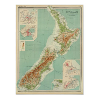 New Zealand Atlas Map Poster