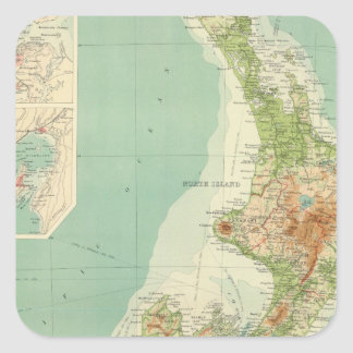 New Zealand Atlas Map Square Sticker