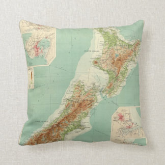 New Zealand Atlas Map Throw Pillow
