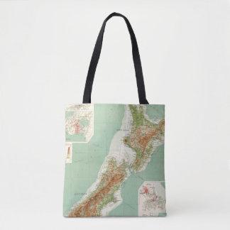 New Zealand Atlas Map Tote Bag