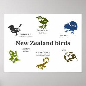 New Zealand Birds poster