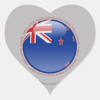 New Zealand Bubble Flag Heart Sticker