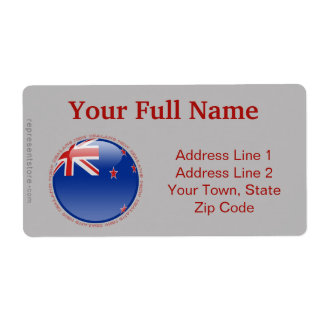 New Zealand Bubble Flag Label