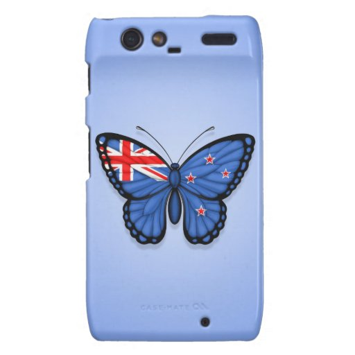 New Zealand Butterfly Flag on Blue Motorola Droid RAZR Cover