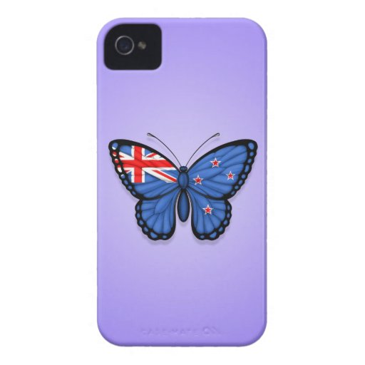 New Zealand Butterfly Flag on Purple iPhone 4 Cover