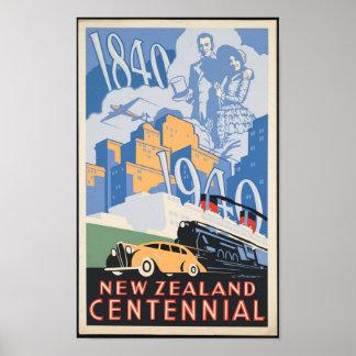 New Zealand Centennial Travel Poster