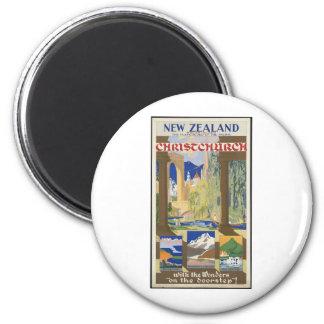 New Zealand Christchurch 2 Inch Round Magnet