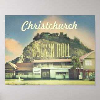 New Zealand Christchurch Rock'n roll Poster