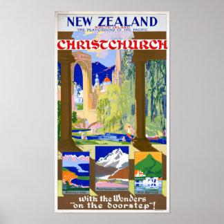 New Zealand Christchurch Vintage Poster Restored